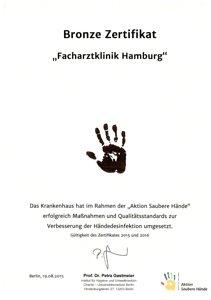 Bronze-Zertifikat Aktion Saubere Hände